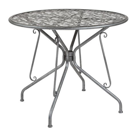 "Offex 35.25"" Round Contemporary Antique Silver Indoor Outdoor Steel Patio Table"