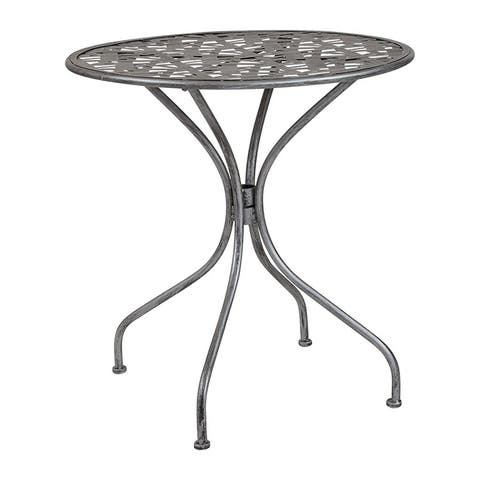 "Offex 27.5"" Round Contemporary Antique Silver Indoor Outdoor Steel Patio Table"
