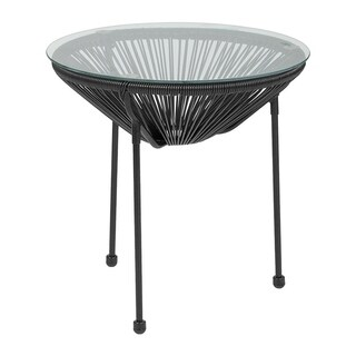 Offex Valencia Oval Comfort Series Take Ten Black Rattan Table with Glass Top