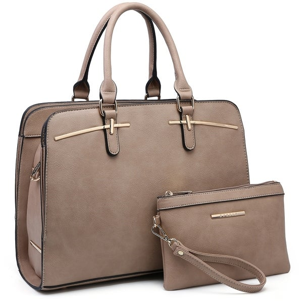 Dasein Faux Leather Satchel with Matching Wristlet