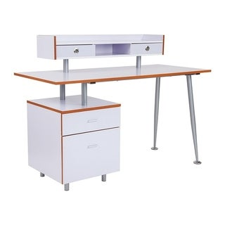Offex Contemporary Home and Office Desk with 2 Drawers and Top Storage Shelf in White Finish