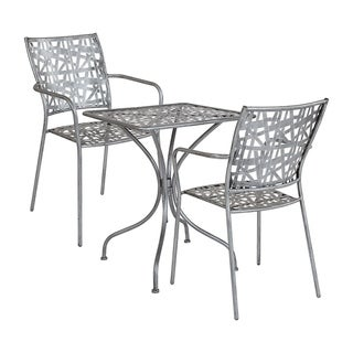 """Offex 23.5"""" Square Antique Silver Indoor Outdoor Steel Patio Table with 2 Stack Chairs"""
