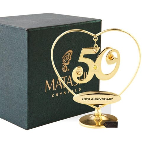 "Matashi 24K Gold Plated 50th ""Happy Anniversary"" Heart Ornament"