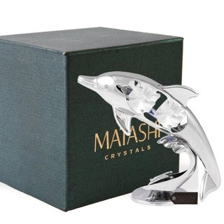 Chrome Plated Crystal Studded Silver Dolphin Riding Wave Figurine Ornament by Matashi