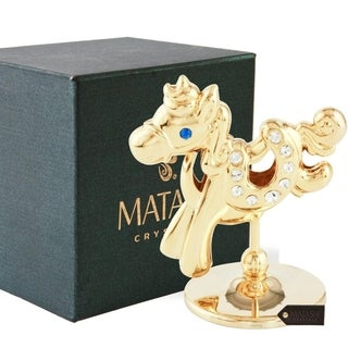 Matashi 24K Gold Plated Crystal Studded Cartoon Horse Ornament