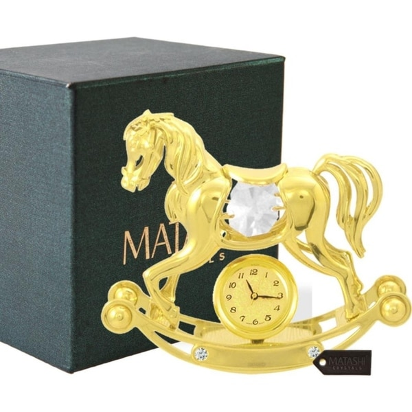 Matashi 24K Gold Plated w/ Crystal Rocking Horse Desk Clock Ornament
