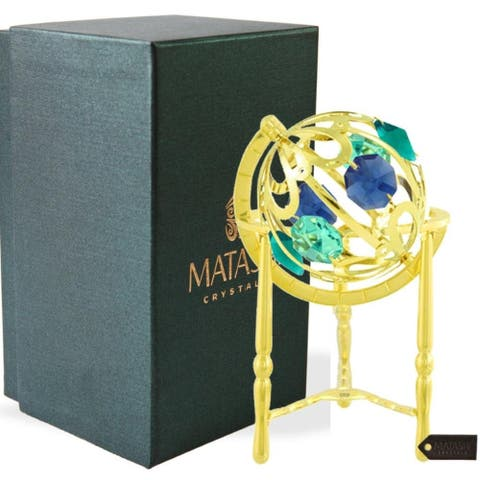 24K Gold Plated Crystal Studded Spinning Globe Ornament with Colored Crystals by Matashi