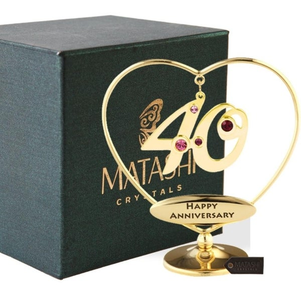"Matashi 24K Gold Plated 40th ""Happy Anniversary"" Heart Ornament"
