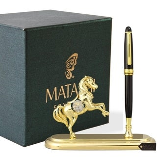 24K Gold Plated Executive Desk Set With Pen and Horse Ornament by Matashi