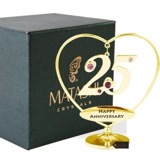 "Matashi 24K Gold Plated 25th ""Happy Anniversary"" Heart Ornament"
