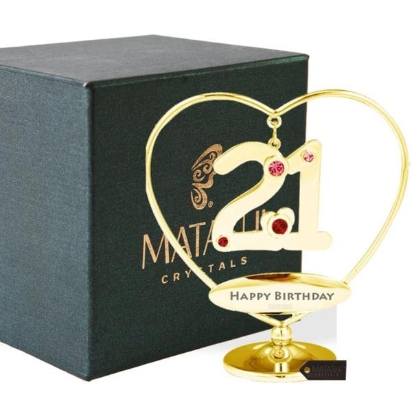 "Matashi 24K Gold Plated 21st ""Happy Birthday"" Heart Ornament"