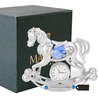 Matashi Chrome Plated w/ Crystal Rocking Horse Desk Clock Ornament