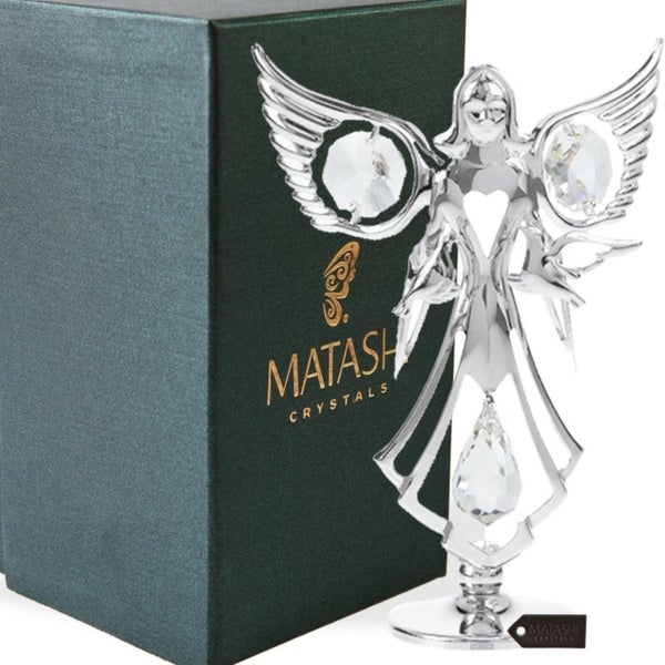 Matashi Chrome Plated Crystal Studded Silver Guardian Angel with Doves Figurine Ornament