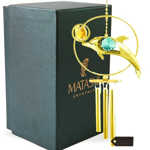 24K Gold Plated Crystal Studded Dol Phin with Ball Decorative Wind Chime by Matashi