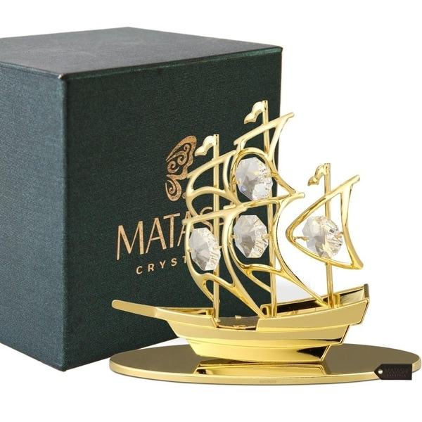 24K Gold Plated Crystal Studded Mayflower Sailing Ship Ornament by Matashi