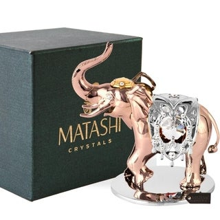 Rose Gold and Silver Color Crystal Studded Elephant Ornament by Matashi