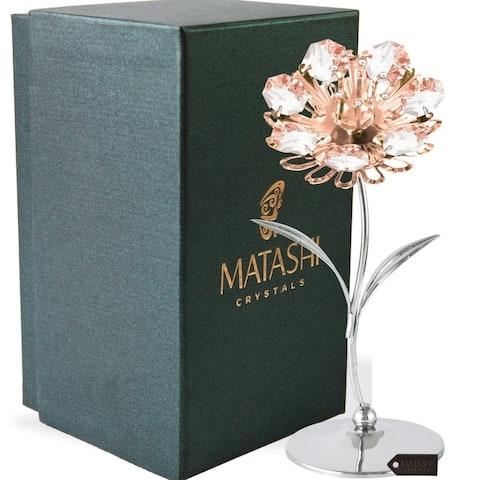 Matashi Chrome and Rose Plated Crystal Studded Sunflower Figurine
