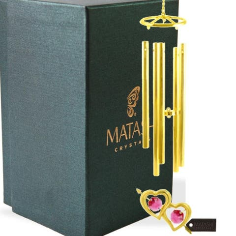 24K Gold Plated Crystal Studded Double Heart With Arrow Wind Chime by Matashi