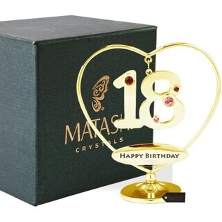 "Matashi 24K Gold Plated 18th ""Happy Birthday"" Heart Ornament"