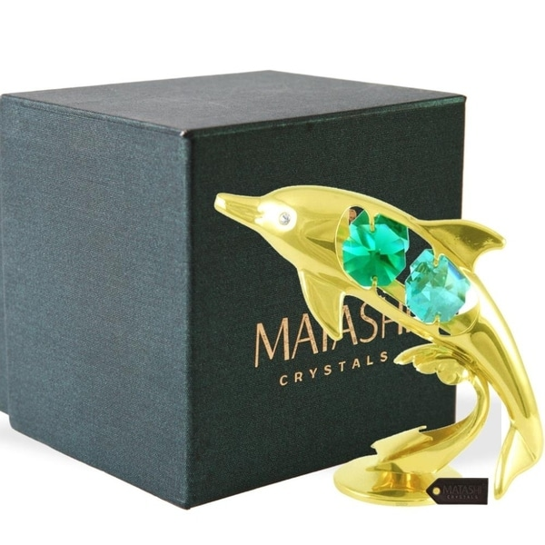 24K Gold Plated Crystal Studded Dolphin Riding Wave Figurine Ornament by Matashi
