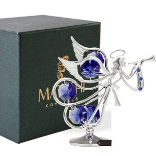 Matashi Chrome Plated w/ Crystal Flying Angel Playing A Trumpet Ornament