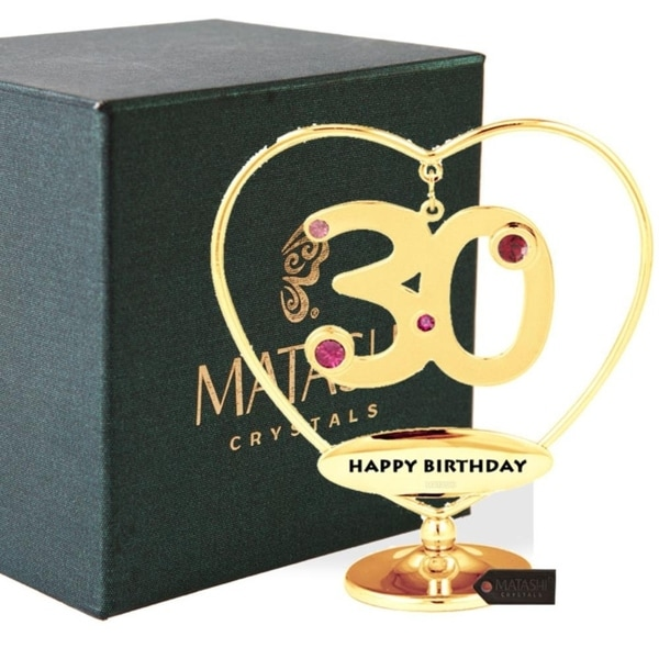 "Matashi 24K Gold Plated 30th ""Happy Birthday"" Heart Ornament"