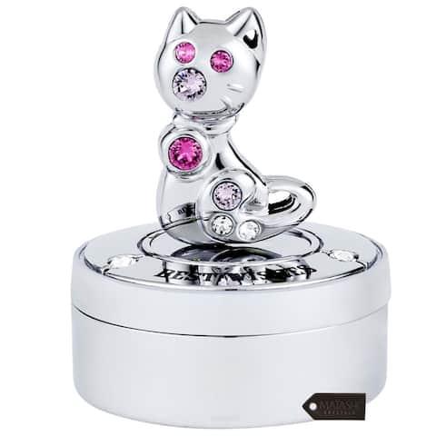Chrome Plated Mini Silver Kitty Cat Keepsake Box by Matashi
