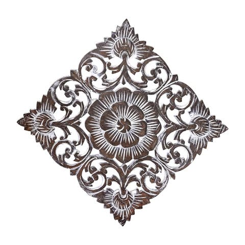 Handmade Tropical Magnolia Flower Two-Tone Hand Carved Teak Wood Wall Art-12 inch (Thailand)