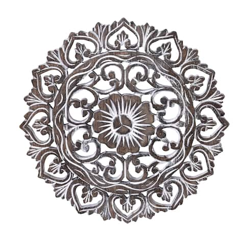 Handmade Elaborate Circular Clay Rubbed Lotus Floral Hand Carved Wood Wall Art-12 in (Thailand)