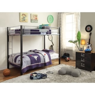 Metal Twin Over Twin Bunk Bed with Side Built-in Ladder,Black & Silver