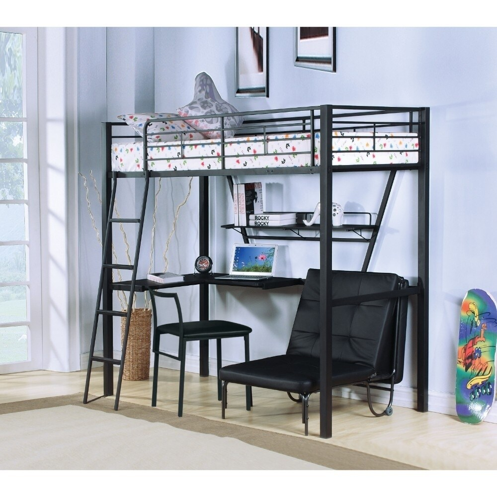 Contemporary Metal Loft Bed with Desk, Black and Silver