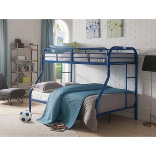 Metal Twin Over Full Bunk Bed with 2 Side Ladders, Blue