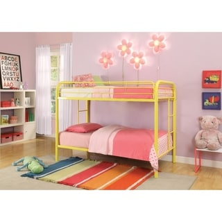 Metal Twin Over Twin Bunk Bed with 2 Side Ladders, Yellow