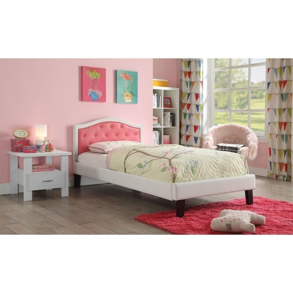 Transitional Wood and Leatherette Twin Bed with Button Tufting, Pink and White
