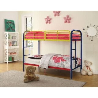 Metal Twin Over Twin Bunk Bed with 2 Side Ladders, Multicolor