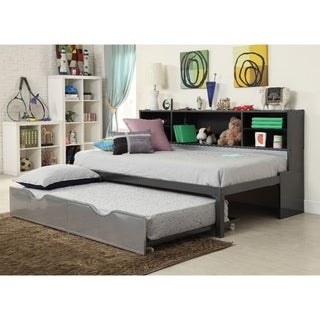 Metal Twin Bed with Bookcase and Rollout Trundle, Black and Silver