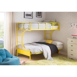 Metal Twin Over Full Futon Bunk Bed with 2 Side Ladders, Yellow