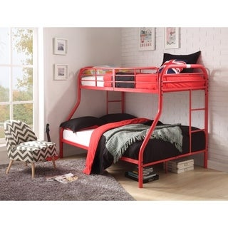 Metal Twin Over Full Bunk Bed with 2 Side Ladders, Red