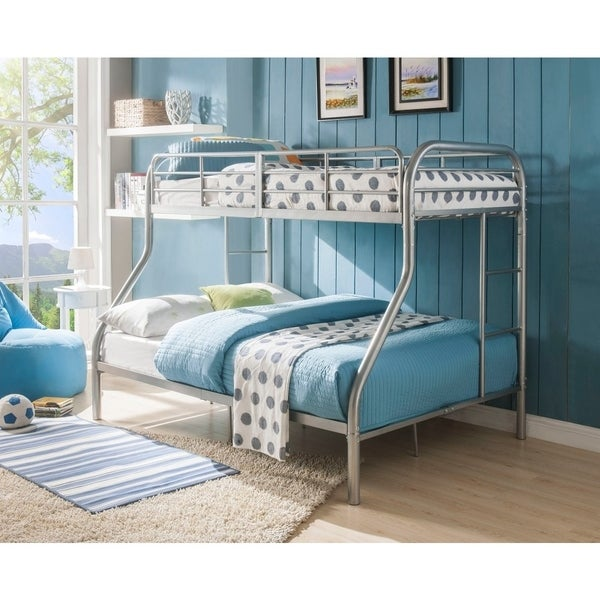 Metal Twin Over Full Bunk Bed with 2 Ladders, Silver