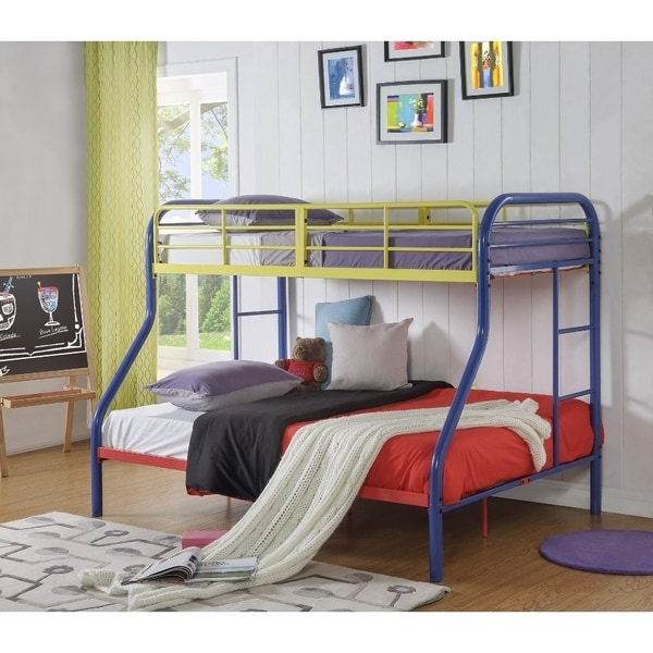Shop Metal Twin Over Full Bunk Bed With 2 Side Ladders Blue On