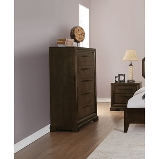 Transitional Style Wood and Metal Chest with 5 Drawers, Brown