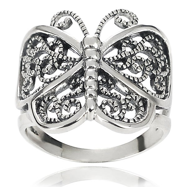 Journee Collection Antiqued Sterling Silver Butterfly Wrap Ring