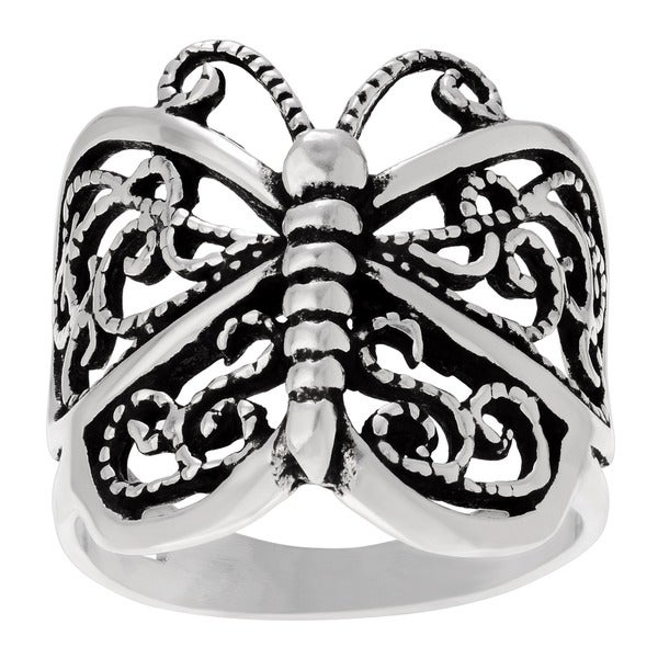 Sterling Silver Butterfly Statement Ring