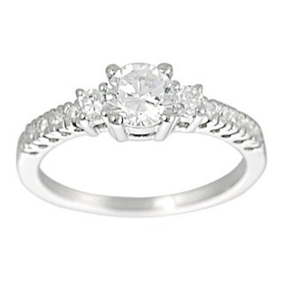 Journee Collection Sterling Silver CZ Bridal and Engagement Ring