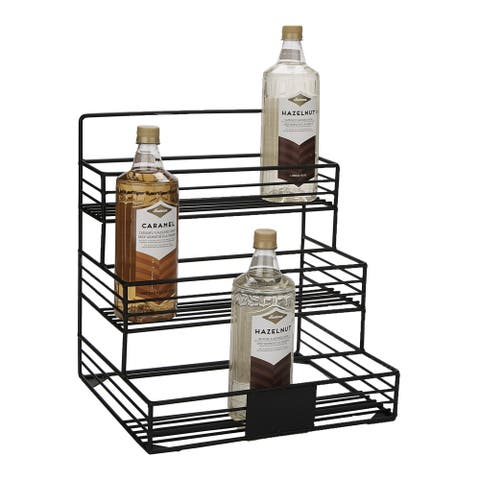 Mind Reader Iron Syrup Bottle Holder, Wire Compartment Bottle Organizer, Storage for Syrup, Wine, Dressing, Black - 12 Capacity
