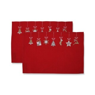 Hanging Christmas Ornaments Placemat Red (Set of 2)