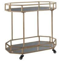 Signature Design by Ashley Daymont Gold Finished Metal/Glass Bar Cart