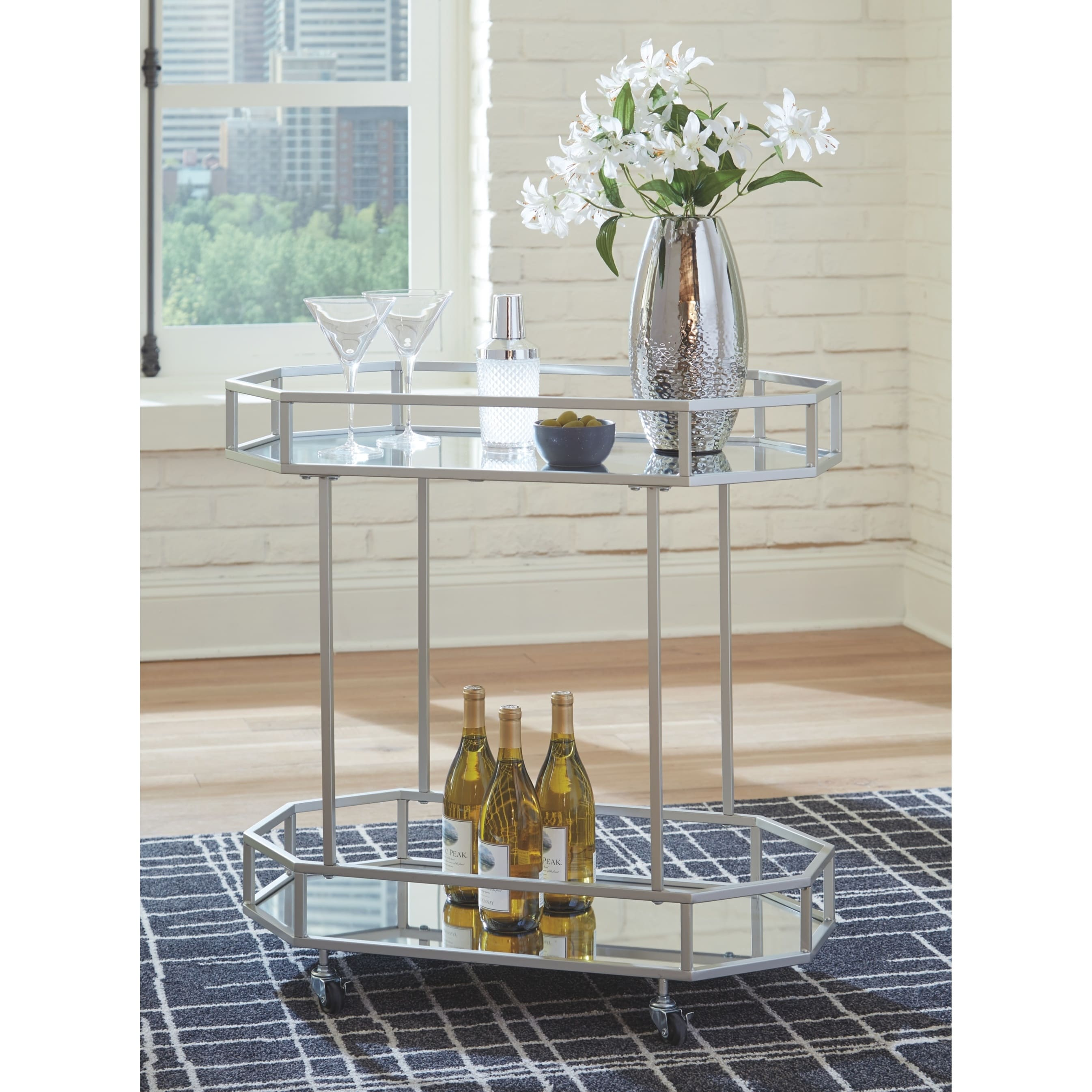 Kadinburg Silver Finish Bar Cart On Sale Overstock 25487536