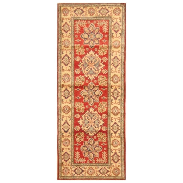 Handmade Kazak Wool Rug (Afghanistan) - 2'8 x 6'10