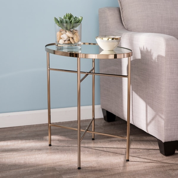 Silver Orchid Hinding Oval Mirrored Side Table